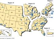 Map of the United States by Nuclear Regulatory Commission (NRC) Regions and locations of licensed plants