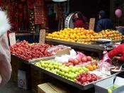 Fruits sold in catties (斤) in a market in Sanchong, New Taipei, Taiwan.