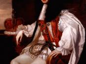 King Charles II is portrayed wearing the robes of the Sovereign of the Order of the Garter.