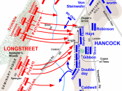 English: Map of Pickett's Charge of the American Civil War. Drawn in Adobe Illustrator CS5 by Hal Jespersen. Graphic source file is available at http://www.posix.com/CWmaps/