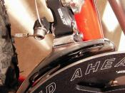 Shimano XT front derailleur (top pull, bottom swing, triple cage) on a mountain bike