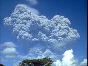 The June 12, 1991 eruption column from Mount Pinatubo taken from Clark Air Base. Image resized