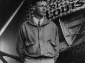 Charles Lindbergh, with Spirit of St. Louis in background