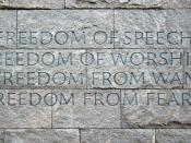 The Four Freedoms engraved on a wall at the Franklin Delano Roosevelt Memorial in Washington