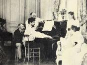 Debussy at the piano, in front of the composer Ernest Chausson, 1893