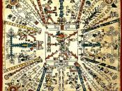 Aztec cosmogram in the pre-Hispanic Codex Fejérváry-Mayer - the fire god Xiuhtecuhtli is in the center.