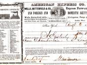 American Express Co. shipping receipt, New York City to St. Louis, MO (August 6, 1853)