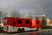 Rainbow over the blood donor buss at Lindholmen
