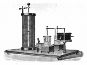 A 1915 example of an early type of resonant circuit known as an Oudin coil which uses Leyden jars for the capacitance.