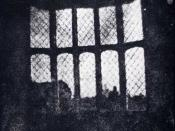English: Window in the South Gallery of Lacock Abbey made from the oldest photographic negative in existence.