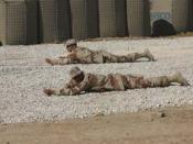 Two soldiers in prone position