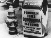 A poster attached to a curbside mailbox offering advice to World War II servicemen: Penicillin kills gonorrhea in 4 hours.