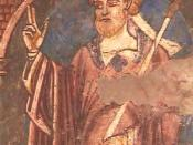 A close-up of the twelfth century painting of St Cuthbert in Durham Cathedral