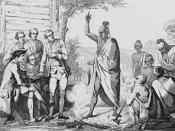 English: Conference_Between_the_French_and_Indian_Leaders_Around_a_Ceremonial_Fire_by_Vernier.