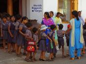 School children line up in Cochin Kerala India