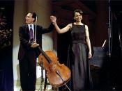 English: Cellist Yo-Yo Ma and National Security Advisor Dr. Condoleezza Rice take their bow after performing a duet to a Brahm's sonata at the presentation of awards by the National Endowment of the Arts and Humanities at Constitution Hall in Washington,