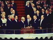 Spiro Agnew is sworn in as vice-president in 1969. From left to right: Lyndon B. Johnson, Richard Nixon, Everett Dirksen, Spiro Agnew (with hand raised), Hubert Humphrey.