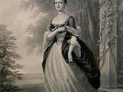 Mezzotint of Martha Washington made by John Folwell, drawn by W. Oliver Stone after the original by John Wollaston, painted in 1757