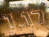 It was taken in the early morning on Jan 17, 2005, the 10 years commemoration ceremony in Kobe to those who died in the Great Hanshin earthquake (Jan 17, 1995).