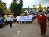 Monks Protesting in Burma (Rangoon, Shwedagon pagoda)