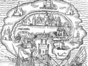 English: Title woodcut for Utopia written by Thomas More. Italiano: Incisione del titolo per L'Utopia di Tommaso Moro.