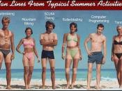 Tan Lines From Typical Summer Activities: Waterskiing, mountain biking, scuba diving, rollerblading, computer programming and tennis (by artist unknown)