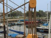 This block and tackle on a davit of the Mercator is used to help lower a boat.