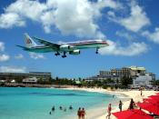 English: American Airlines Boeing 757 on final approach at St Maarten Juliana International Airport