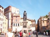 The monument to Bruno in the place he was executed, Campo de' Fiori in Rome.