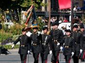 English: Flag guard of the École polytechnique, Bastille Day 2008 military parade on the Champs-Élysées, Paris. Français : Le drapeau de l'École polytechnique et sa garde, défilé du 14 juillet 2008 sur les Champs-Élysées, Paris.