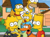 Clockwise from top left: Marge, Homer, Bart, Santa's Little Helper (dog), Snowball II (cat), Lisa, and Maggie.