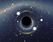 Simulated view of a black hole in front of the Large Magellanic Cloud. The ratio between the black hole Schwarzschild radius and the observer distance to it is 1:9. Of note is the gravitational lensing effect known as an Einstein ring, which produces a se