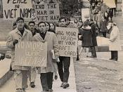 Student protesters marching down Langdon Street at the University of Wisconsin-Madison during the Vietnam War era. UW Digital Collections
