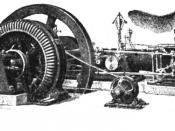 A 100 kVA direct-driven power station AC alternator with a separate belt-driven exciter generator, date c. 1917.