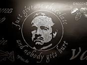 Funny Chocolate Joke on Black Chalk Board