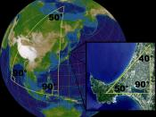 Illustration of spherical geometry where the angles of a triangle do not sum to 180°. The globe is an orthographic projection centered on Japan at 135°30' E, 36° N. The map is of Oga Peninsula, Akita, Japan at 139°52' E, 39°56' N. Landsat image with high-