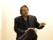John Perry Barlow lecturing at European Graduate School, Saas-Fee, Switzerland. Tenth Anniversary of The Declaration of the Independence of Cyberspace. (European Graduate School, May 29, 2006, http://www.egs.edu/ ) Image description page is (was) here