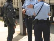 South Australian Police officers wearing duty belts