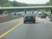 The Capital Beltway, northbound, west side of Washington.