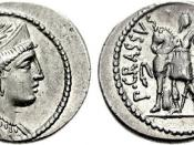English: Denarius minted by Publius Licinius Crassus (son of triumvir) as monetalis in 55 B.C. :::Laureate bust of Venus, perhaps in honor of his commanding officer Julius Caesar. :::Unidentified female figure holding spear and the rein of her horse, with