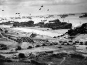 Landing craft and tanks at Omaha beach during the D-Day landings, many of which had departed from Penarth