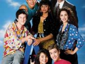 The cast of Saved by the Bell, clockwise from left: Screech, Slater, Lisa, Mr. Belding, Jessie, Zack, and Kelly.