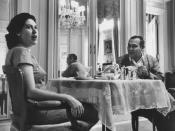 English: Cuban dictator Fulgencio Batista while having breakfast in the Presidential Palace with wife Marta Batista - Havana, Cuba, April 1958.