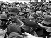 President Lyndon B. Johnson greets American troops in Vietnam.