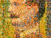 Detail from Seurat's La Parade de Cirque (1889), showing the contrasting dots of paint used in pointillism.