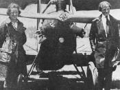Neta Snook and Amelia Earhart in front of Earhart's Kinner Airster, c.1921. Photo donated by Karsten Smedal and available as a public domain image.