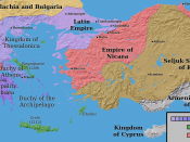 The Latin Empire and the Partition of the Byzantine Empire after the 4th crusade, c. 1204; borders are approximate