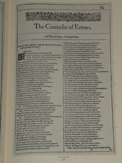 Photo of the first page of The Comedy of Errors from a facsimile edition of the First Folio of Shakespeare's plays, published in 1623