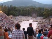 English: The ancient theatre of Epidaurus is nowadays used for staging ancient Greek drama shows.