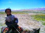 English: Young Tibetan equestrian. Close to Tingri Shekar